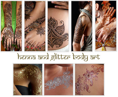 Henna and Glitter body art  luxe glow
