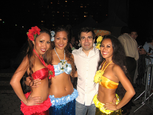 hula dancers with Mario Cantone
