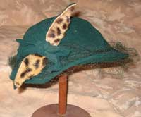 Vintage Green Wool hat with Leopard Bow