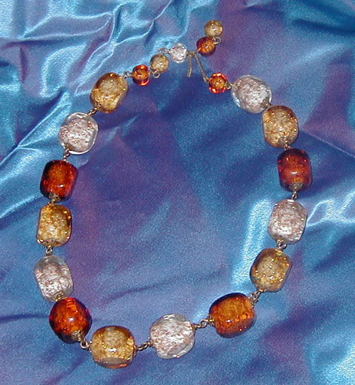 Autumn-Colored Glass Bead Vintage Necklace