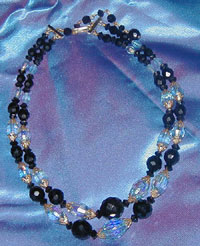 Jet and Blue crystal vintage necklace