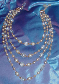 Blue Glass and  Faux Pearl 4-Strand beaded necklace