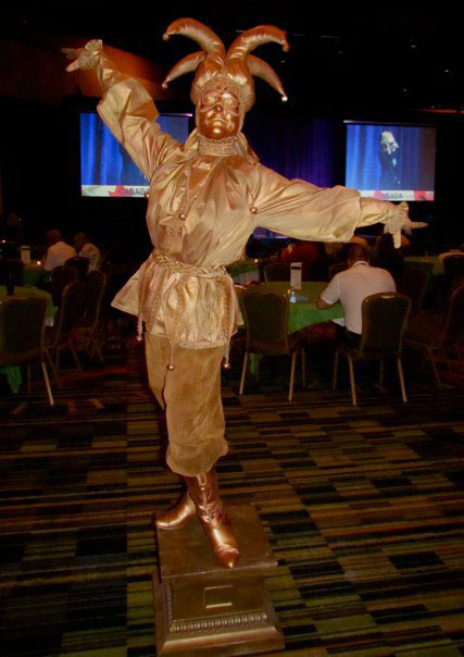 Golden Jester Living Statue