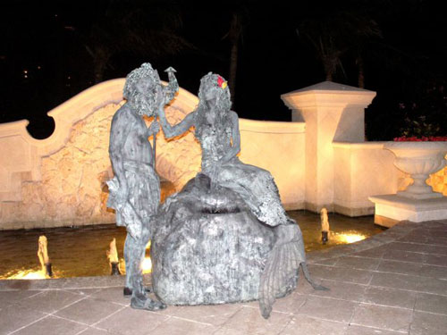 Neptune and Mermaid Living Statues