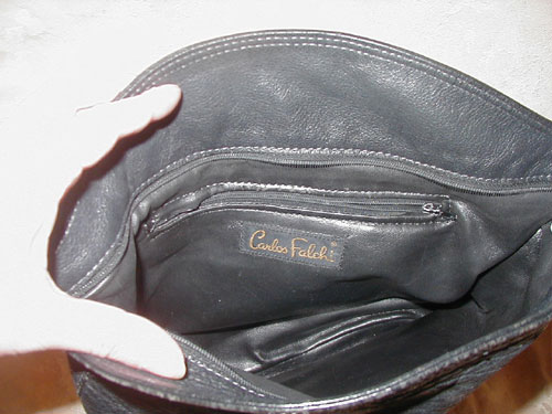 Carlos Falchi black leather handbag