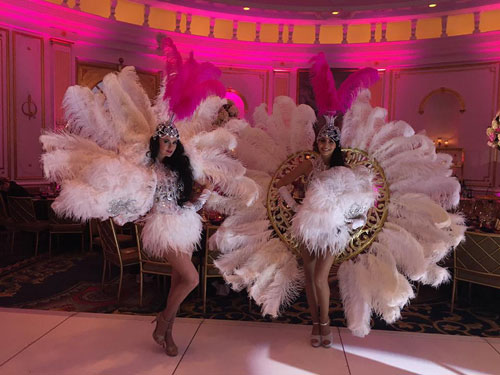 Large White Feathered Showgirl Costumes