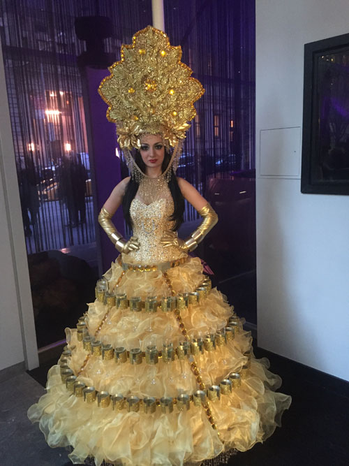 Gold Champagne Skirt with Headdress