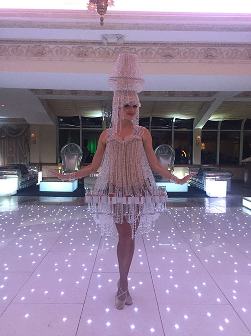 Light-Up Chandelier Dress (holds Champagne glasses)