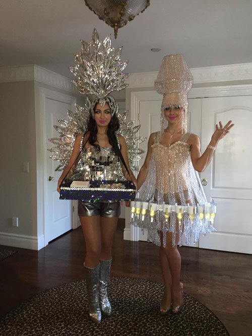 Silver Cigarette Girl and Chandelier Champagne Dress