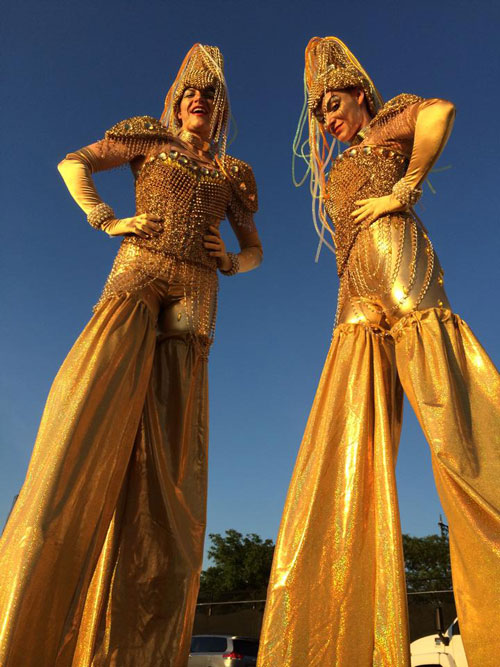 Golden Stilt Walkers