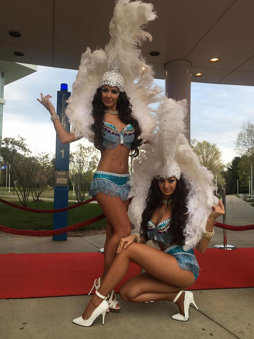 Blue and White Showgirls