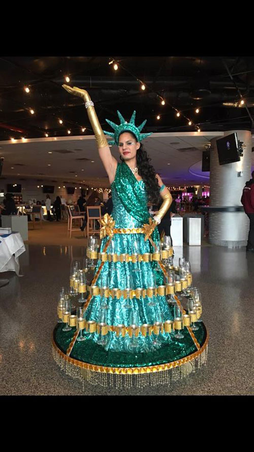 Statue of Liberty Strolling Champagne Dress