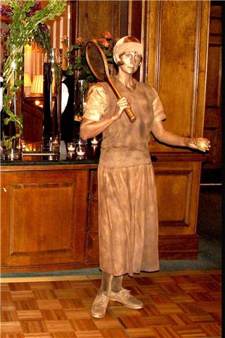Bronze 1920s lady tennis player living statue