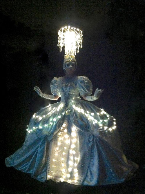 whie marie antoinette chandelier costume on