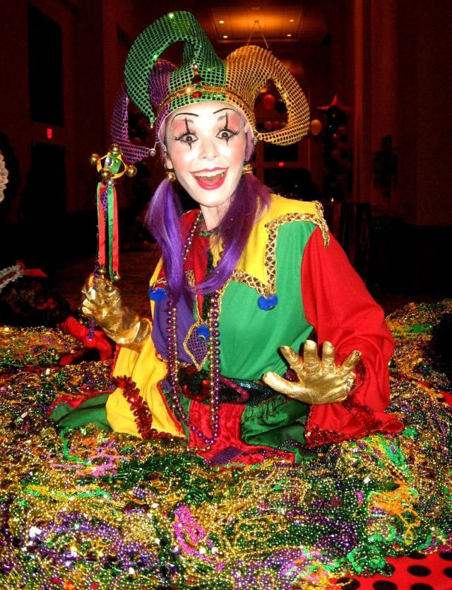 Colorful Mardi Gras Jester strolling table - Florida